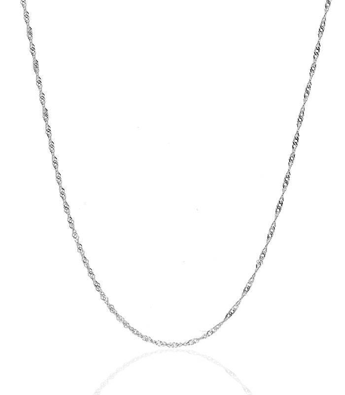 Cadena Singapur Oro Blanco de 18 k de 45 cm