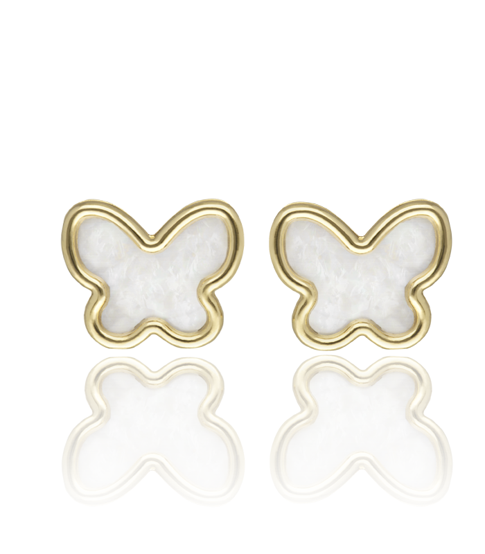 Pendientes Mariposa Oro 18k y Nácar.
