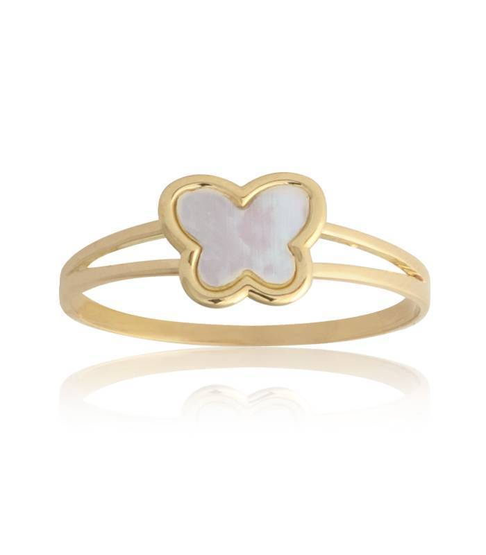 "Anillo ""Angels"" Mariposa Oro 18k y nácar natural"