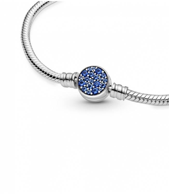 Pulsera Moments en plata de ley Cadena de Serpiente Cierre Disco Azul Brillante 599288C01