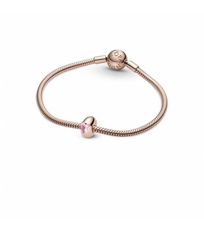 Clip en Pandora Rose Corazón Solitario Rosa 789203C01
