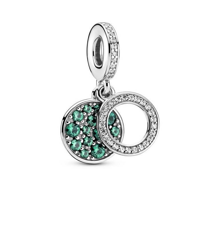Charm Colgante en plata de ley Doble Disco Verde Brillante 799186C02