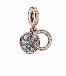 Charm Colgante en Pandora Rose Doble Disco Azul Claro Brillante 789186C03