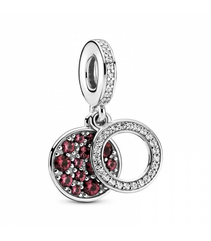 Charm Colgante en plata de ley Doble Disco Rojo Brillante 799186C03