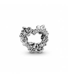 Charm en plata de ley Corazón Abierto y Flores Rosas 799281C01