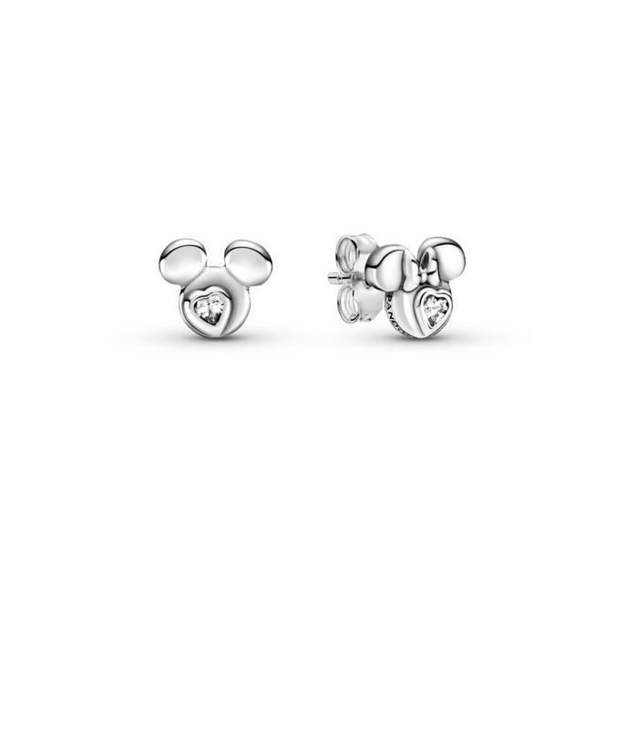 Pendientes de botón en plata de ley Siluetas Mickey Mouse y Minnie Mouse de Disney 299258C01