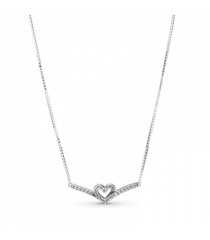 Collar en plata de ley Corazón Espumoso Brillante 399273C01-45