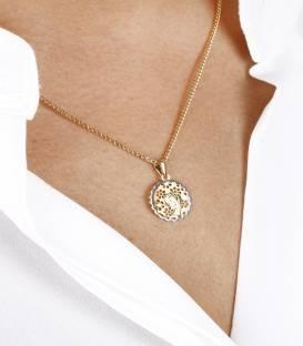 Medalla Virgen Oro bicolor 18k Diamante