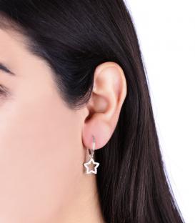 Pendientes Aros Estrellas Brillantes en Plata de Primera Ley