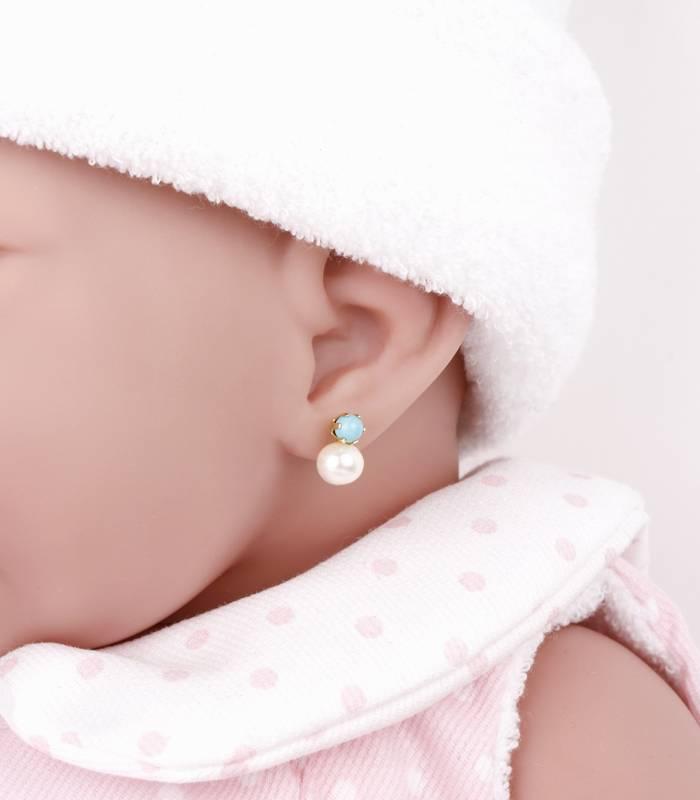 Pendientes Turquesa y perlas