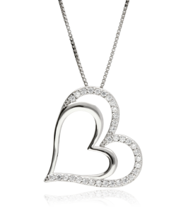 GARG. PLATA CORAZON DOBLE BRILLO/CIRCONI