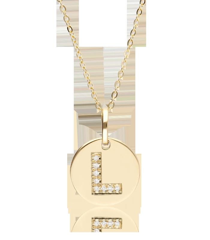 """Gargantilla """"Bright L"""" en Oro 18k y Diamantes"""