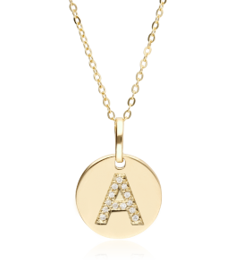 """Gargantilla """"Bright A"""" en Oro 18k y Diamantes"""