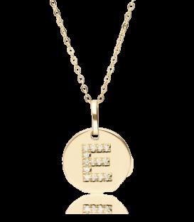 """Gargantilla """"Bright E"""" en Oro 18k y Diamantes"""