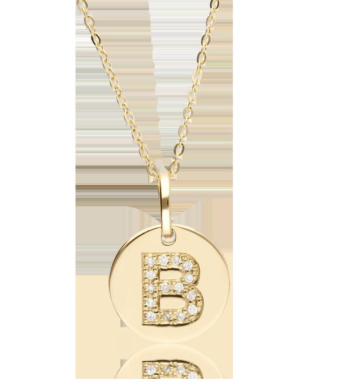 """Gargantilla """"Bright B"""" en Oro 18k y Diamantes"""