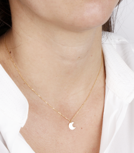 """Gargantilla """"Bright Moon"""" en Oro 18k y Diamante"""