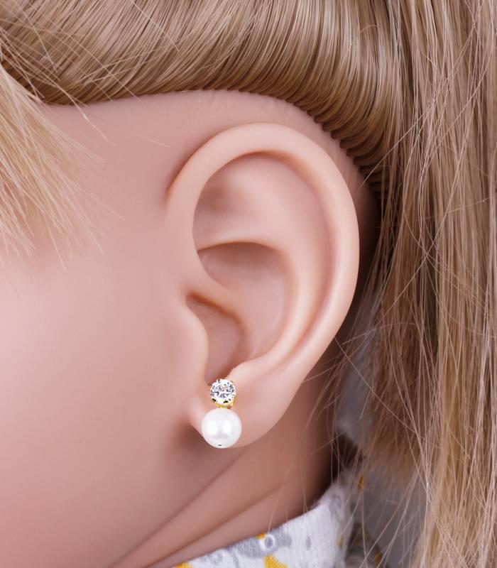 Pendientes bebé Oro 18k perla y circonita