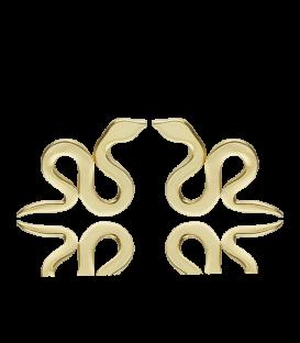 Pendientes Serpiente dorados en Plata de Primera Ley