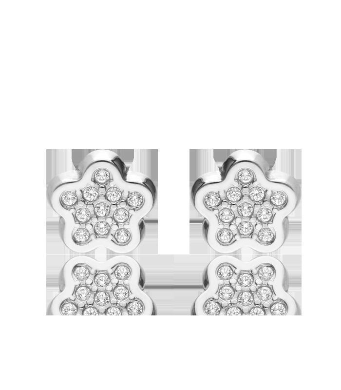 Pendientes Oro Blanco 18k Flor