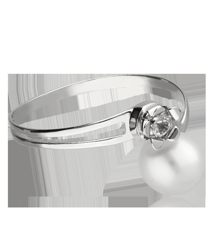 Conjunto Oro blanco 18k perla y circonita
