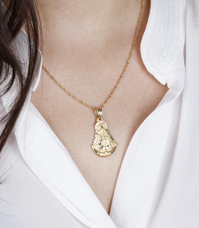 Medalla Oro 18k Virgen del Rocío Grande