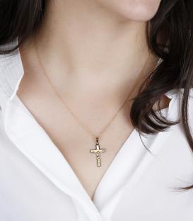 Colgante Cruz Cristo de Oro Bicolor