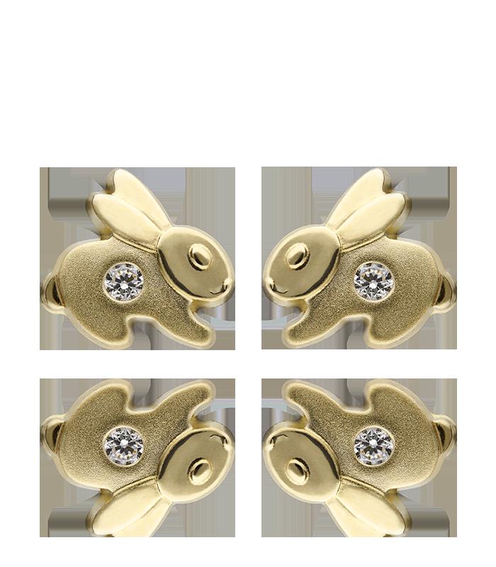 Pendientes Oro 18k Conejito Circonita