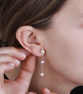 Pendientes Plata Largos con tres perlas
