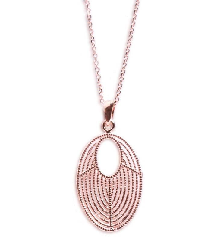 colgante plata y ba o de oro rosa cadena