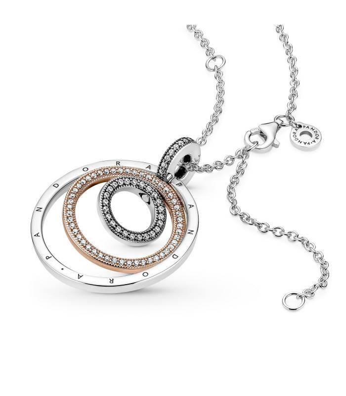 Collar Pandora Colgante Círculos en Dos Tonos 389483C01-60