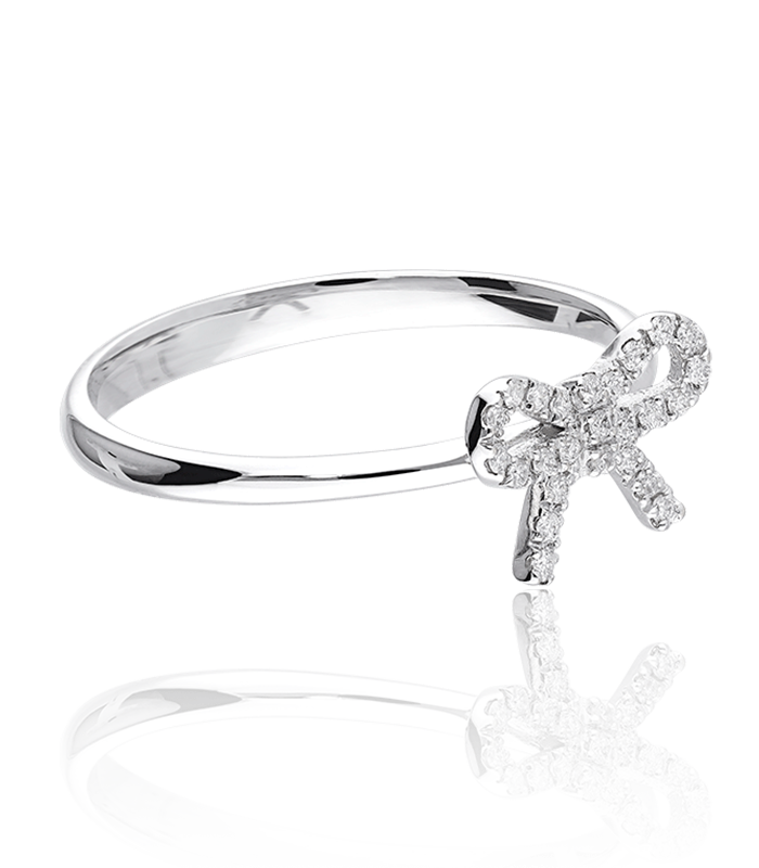 """Anillo """"Lazo"""" Oro Blanco y 7 Diamantes"""