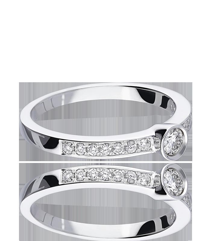 """Anillo """"Lombardía"""" Oro Blanco 18k y Diamantes 0.30 cts"""