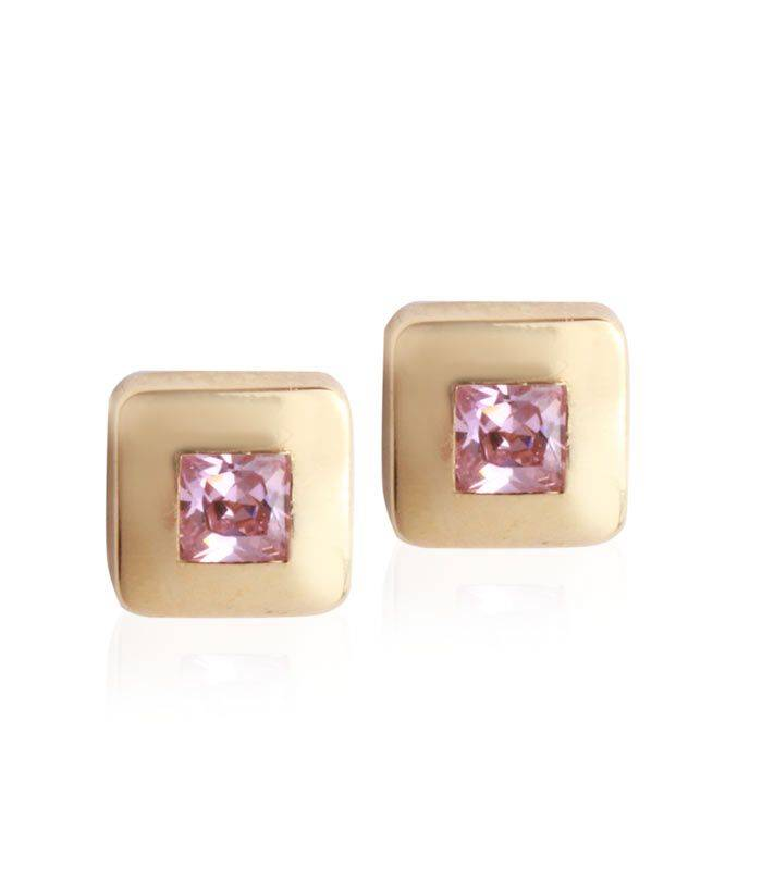 Pendientes Oro Circonita Rosa