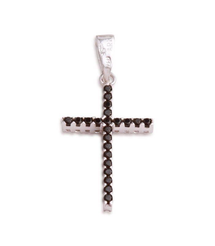 d7519c7f1d19 Colgante Cruz Oro Blanco circonitas negras