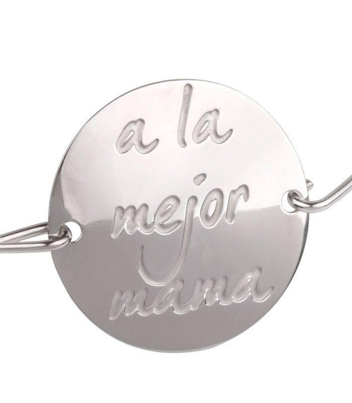 """Pulsera Plata Rígida """"a la mejor mama"""""""