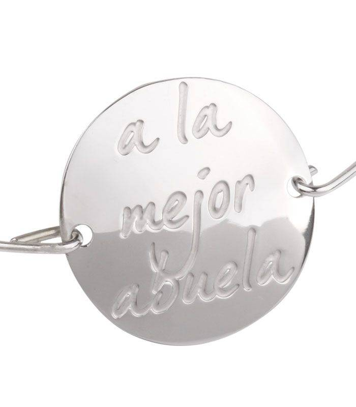 "Pulsera Plata Rígida ""a la mejor abuela"""