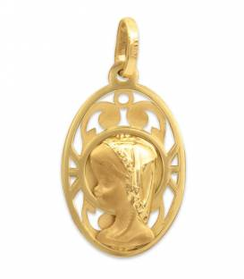 Medalla oro virgen niña ovalada
