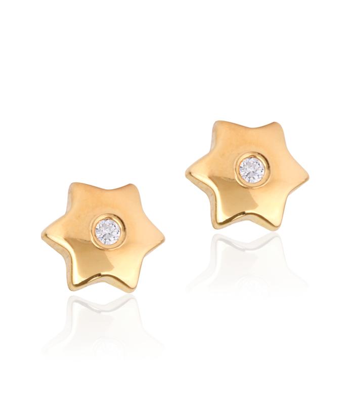 Pendientes Oro Estrella con Circonita