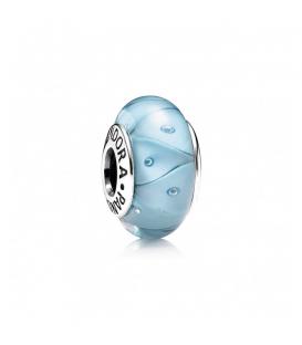 Charm cristal de Murano zig-zag turquesa
