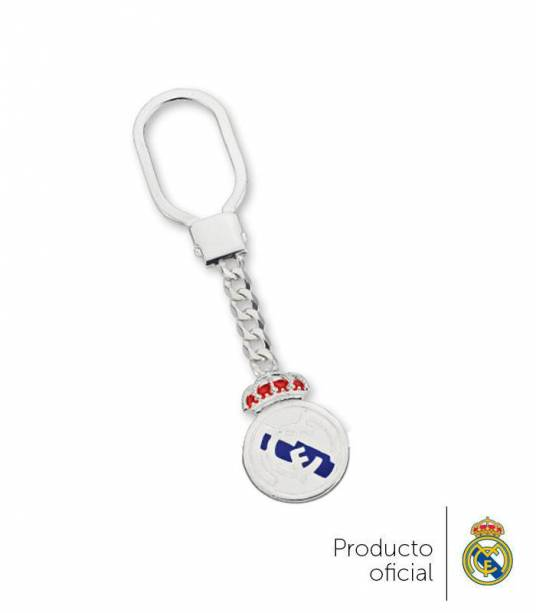 Llavero escudo color  Real Madrid plata de ley