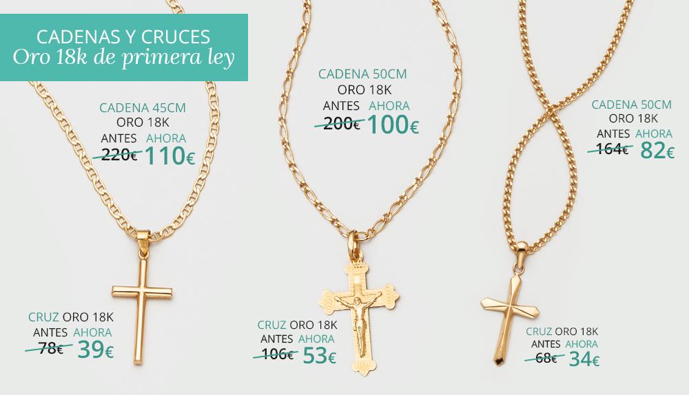 Cadenas y cruces de comunión en oro de 18 kilates Joyerías Sánchez