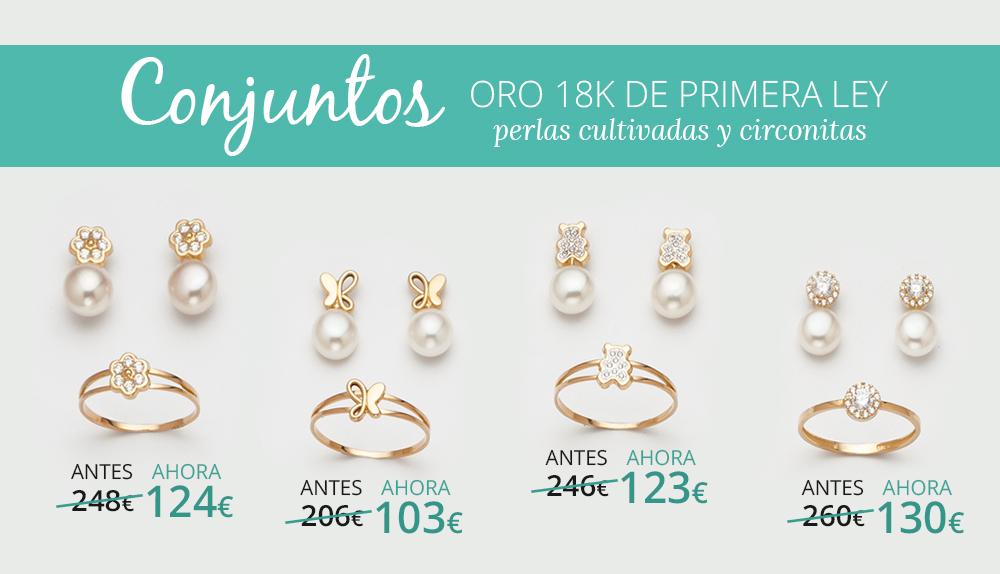 Conjuntos comunión oro 18 kilates de primera ley Joyerías Sánchez